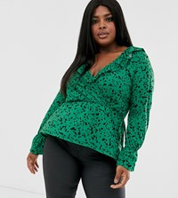 Pink Clove Tie Front Blouse With Gathered Cuff In Green Scatter Print