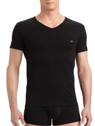 Emporio Armani Cotton Stretch V Neck Tee White Black