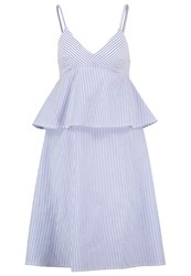 Neon Rose Summer Dress Blue White