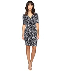 Ivanka Trump Printed Matte Jersey Dress With Ruffle Front Navy Ivory Women's Dress Blue