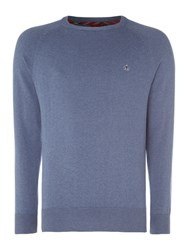 Merc Men's Berty Classic Crew Jumpers Blue Marl