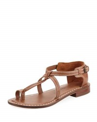 Bernardo Trina Buckled Low Flat Sandal Luggage