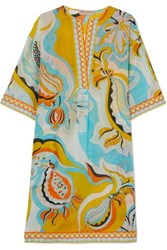 Emilio Pucci Printed Cotton And Silk Blend Voile Kaftan Yellow