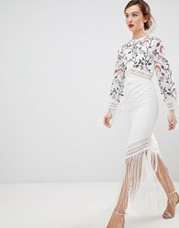 Frock And Frill Long Sleeve Embroidered Dress With Fringed Detail White