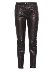 Versus Slim Leg Quilted Leather Trousers