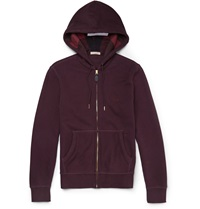 Burberry Fleece Backed Cotton Blend Jersey Hoodie Burgundy