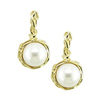 London Road 9Ct Gold Burlington Willow Drop Pearl Earrings Gold
