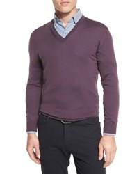 Ermenegildo Zegna High Performance Merino Wool V Neck Sweater Lavender