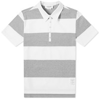 Thom Browne Rugby Stripe Short Sleeve Polo Grey