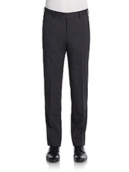Saks Fifth Avenue Black Neat Check Wool Trousers Black