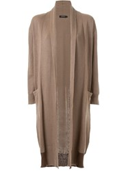 Loveless Contrast Panel Hem Long Drape Cardigan Brown