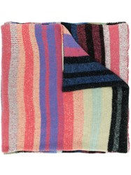 The Elder Statesman Cosy Striped Scarf Pink And Purple