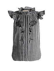 Bliss And Mischief Rose Embroidered Gingham Cotton Top Black White