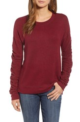 Caslon Petite Ruched Sleeve Pullover Red Rumba
