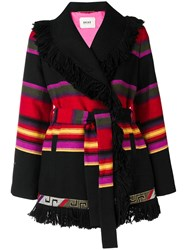 Bazar Deluxe Striped Cardi Coat Black