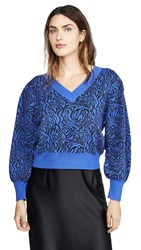Moon River V Neck Balloon Sleeve Sweater Blue Black