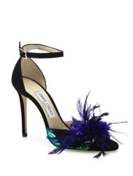Jimmy Choo Annie Sequin And Feather Embellished Suede Ankle Strap Sandals Iris Jazz