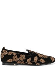Dolce And Gabbana Floral Slippers Black