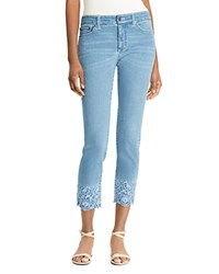 Ralph Lauren Embroidered Cuff Straight Crop Jeans Blue