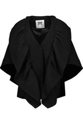 Milly Ruffled Wool Blend Cape Black