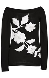 Naeem Khan Off The Shoulder Floral Embroidered Sweater Black White