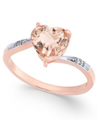 Macy's Morganite 1 3 4 Ct. T.W. And Diamond Accent Ring In 14K Rose Gold Pink