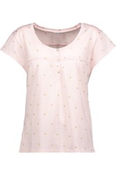 Bodas Metallic Printed Cotton Jersey Pajama Top Pastel Pink