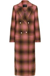 Mother Of Pearl Mable Embellished Double Breasted Checked Wool Coat Pink