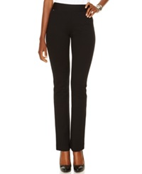 Inc International Concepts Petite Pull On Straight Leg Pants Only At Macy's Deep Black