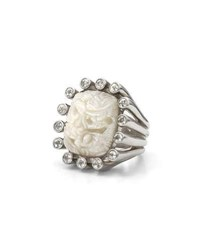 Stephen Dweck Carved Mother Of Pearl Ring With White Topaz