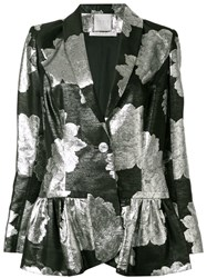 Ingie Paris Floral Metallic Blazer Black