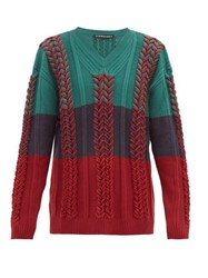 Y Project Cable Knit Cotton Blend Sweater Green Multi