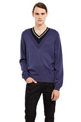 Fred Perry Double Layer V Neck Sweater Dark Airforce