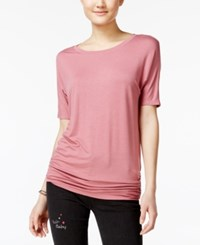 Planet Gold Juniors' Ruched Dolman Sleeve T Shirt Mesa Rose
