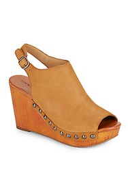 Lucky Brand Marrae Leather Wedges Tan