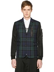 Dsquared2 Plaid Flannel Jacket With Nylon Sleeves