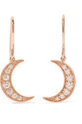 Andrea Fohrman Mini Crescent 18 Karat Rose Gold Diamond Earrings One Size