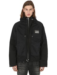 Diesel Cropped Technical Cotton Parka Black