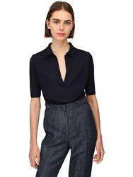 Gabriela Hearst Frank Cashmere And Silk Knit Polo Top Navy