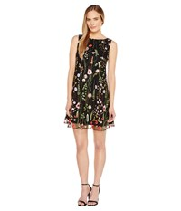 Tahari By Arthur S. Levine Floral Embroidered Trapeze Dress Black Lime Flame Women's Dress