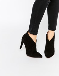 Selected Femme Alexandra Suede Heeled Ankle Boots Black