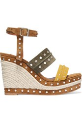 Lanvin Studded Suede Espadrille Wedge Sandals Yellow