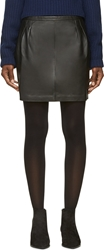 Blk Dnm Black Leather Mini Pencil Skirt