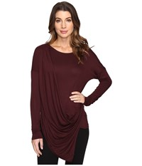 Culture Phit Blithe Long Sleeve Drape Front Top Maroon Women's Clothing Red