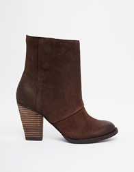 Aldo Izabel Fold Over Heeled Ankle Boots Brown