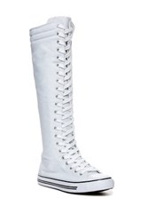 West Blvd Shoes Lace Up Knee High Sneaker Boot White