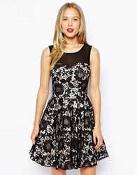 Chi Chi London Prom Dress With Lace Overlay Blacknude