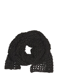 The Kooples Faux Suede And Techno Open Weave Scarf Black