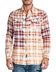 Cult Of Individuality Tonal Plaid Sportshirt Red