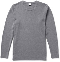 Sunspel Textured Cotton Sweater Gray